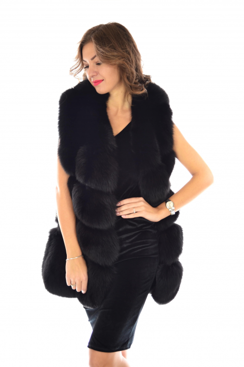 POLAR FOX FUR VEST IN BLACK,NATURAL WHOLE FOX, NATURAL JACKET
