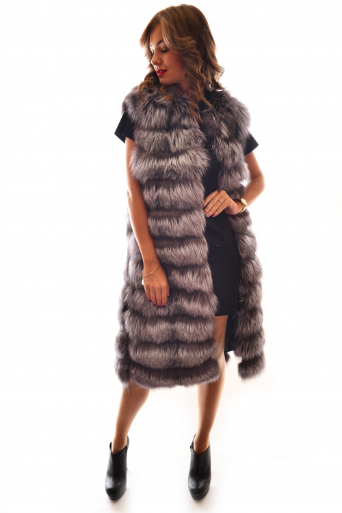 TIERED SILVER FOX DUSTER VEST 110 CM