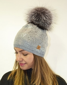 Fur hat with pompom